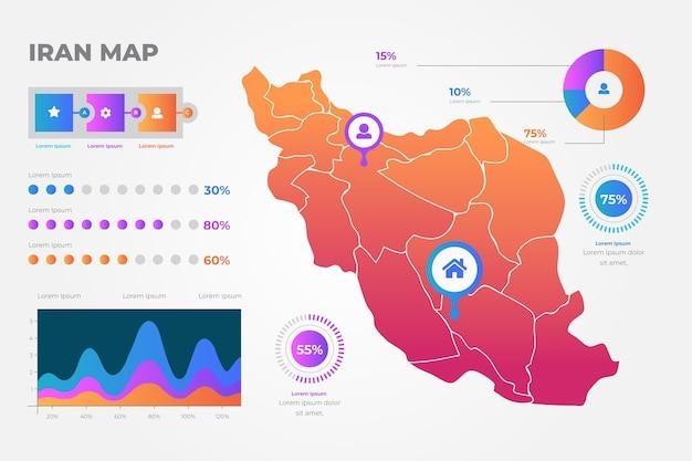 Graphiques de carte iran dégradé