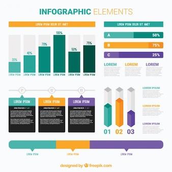 Graphiques colorés et des éléments infographiques