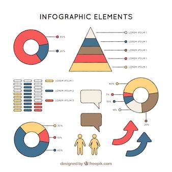 Graphiques colorés prêts à infographies