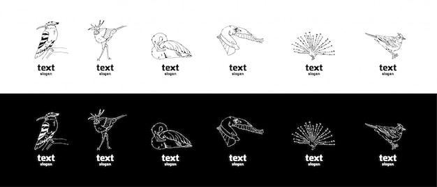 Graphiques crayon dessinés à la main, ensemble d'oiseaux