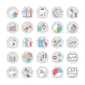 Graphiques et diagrammes commerciaux icônes circulaires plates