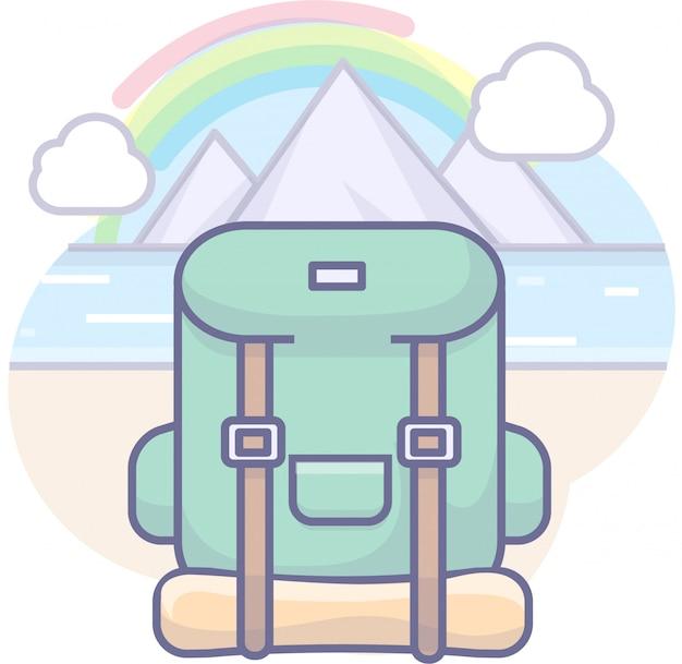 Graphiques d'entreprise avec sac de voyage, montagne, rivière et ciel
