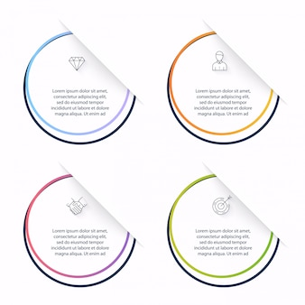 Graphiques d'informations pour vos présentations commerciales. peut être utilisé comme mise en page de site web, bannières numérotées, diagramme, lignes de découpe horizontales, web.
