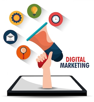 Graphiques de marketing numérique et social.