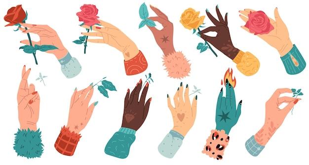 Graphiques modernes plats de dessin animé mains à la mode