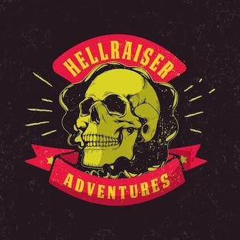 Graphiques de moto vintage. t-shirt de motard. emblème de la moto. crâne monochrome.