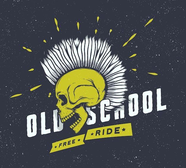 Graphiques De Moto Vintage. T-shirt De Motard. Emblème De La Moto. Crâne Monochrome. Vecteur Premium