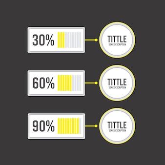 Graphiques en pourcentage jaune