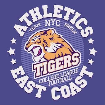 Graphiques de t-shirt angry tiger sport, typographie vintage denim apparel, conception d'impression de timbres d'art, tête de gros chat sauvage. chat sauvage agressif avec des dents dénudées en style cartoon, tatouage de chat