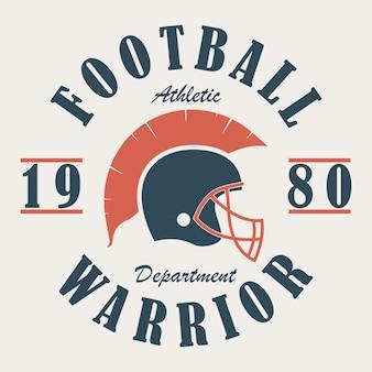 Graphiques de t-shirt football warrior avec casque imprimé pour vêtements de sport
