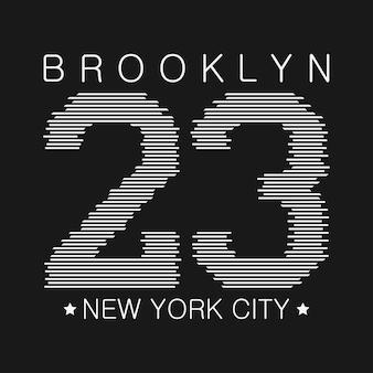 Graphiques de typographie de new york imprimés brooklyn pour la conception de t-shirts numérotés de vêtements de sport