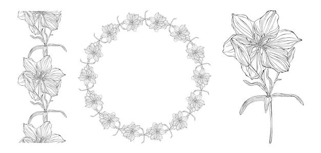 Graphiques vectoriels d'une composition florale