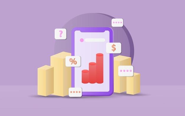 Graphiques de vente vectoriels 3d à l'intérieur d'un smartphone