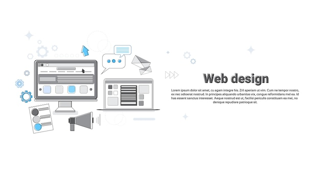 Graphisme web design concepteur créatif équipement de travail concept bannière thin line vector illustration