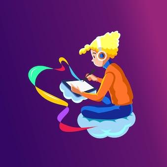 Un graphiste blonde dessine avec une tablette et un stylo numérique.