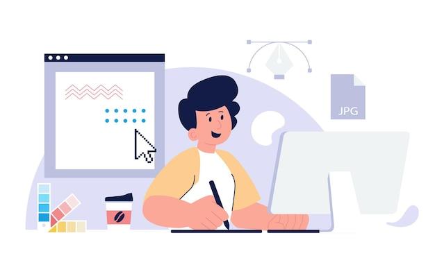 Graphiste créant son œuvre à l'aide d'un ordinateur