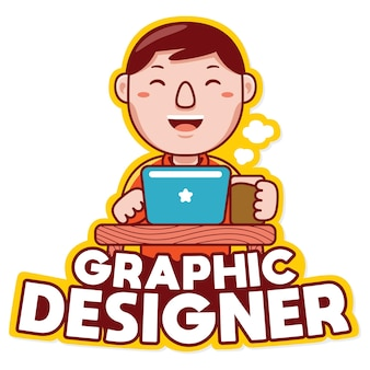 Graphiste profession logo mascotte vecteur en style cartoon