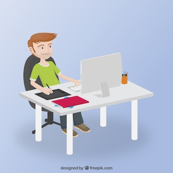Graphiste travaillant sur ordinateur de kis