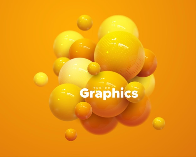Grappe De Bulles Brillantes Orange Vecteur Premium
