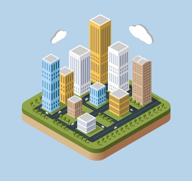 Gratte-ciel et bâtiments dans une vue isométrique.