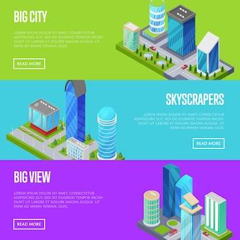 Gratte-ciel dans le jeu de bannières des grandes villes