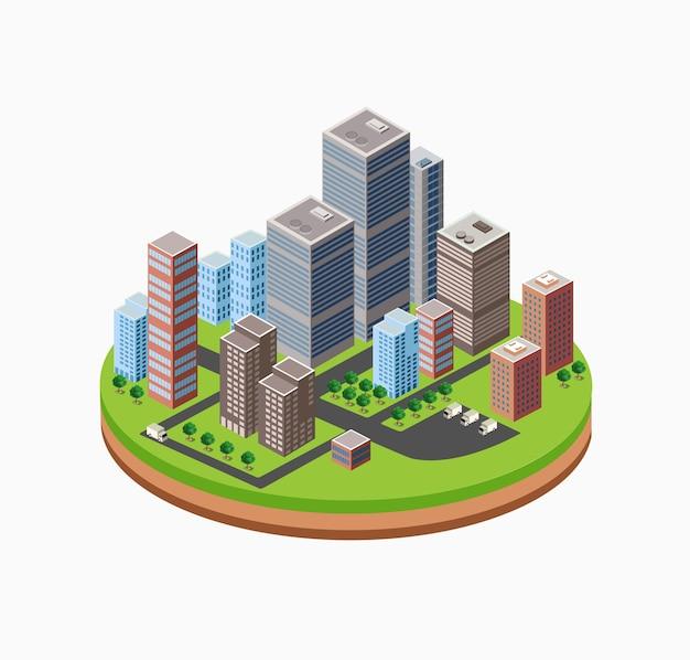 Gratte-ciel, maison urbaine de grande hauteur. ensemble d'objets de design urbain.