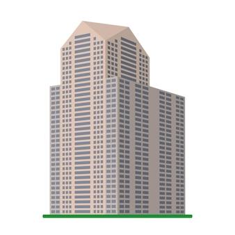 Un gratte-ciel moderne sur fond blanc. vue du bâtiment depuis le bas. illustration vectorielle isométrique.