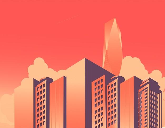 Gratte-ciels de ville isométrique et haut vecteur moderne de bâtiment