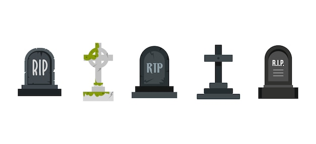 Grave icon set. ensemble plat de la collection d'icônes graves vector isolée