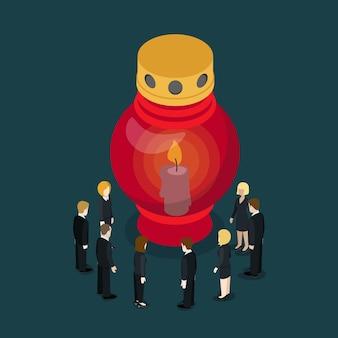 Grave lampe bougie lanterne plat chagrin isométrique pleurer