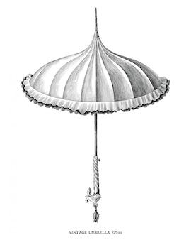 Gravure antique style vintage illustration de parapluie noir et blanc