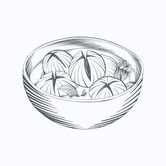 Gravure bakso dessiné à la main