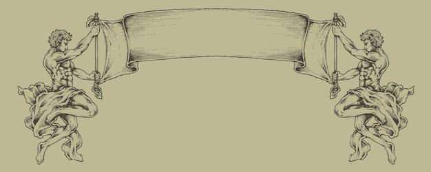 Gravure bannière héraldique