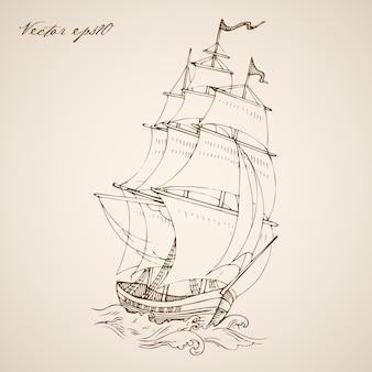 Gravure de barge de frégate dessinée à la main vintage