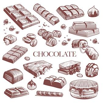 Gravure de barres de chocolat noir, bonbons à la truffe et grains de café