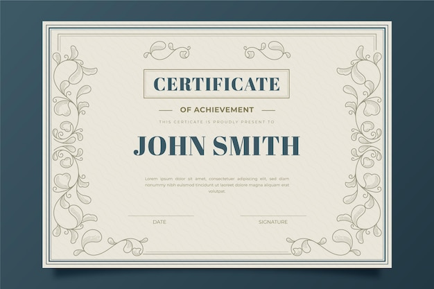 Gravure certificat ornemental dessiné à la main