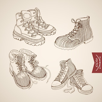 Gravure de chaussures de sport de laçage dessinés à la main vintage et bottes d'hiver