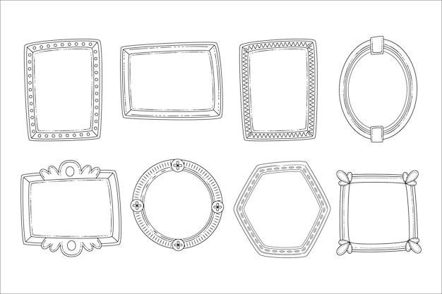 Gravure collection de cadres doodle dessinés à la main