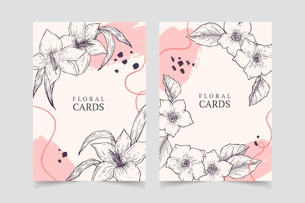 Gravure collection de cartes florales dessinées à la main