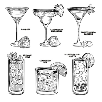 Gravure collection de cocktails dessinés à la main