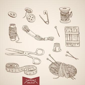 Gravure collection de coupe et de couture dessinés à la main vintage.
