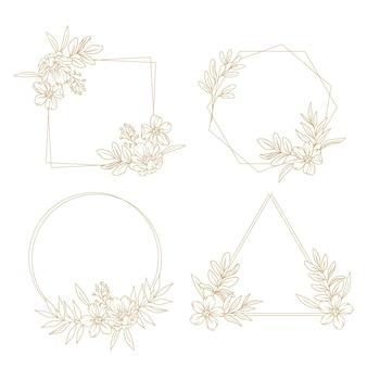 Gravure collection de couronnes florales dessinées à la main