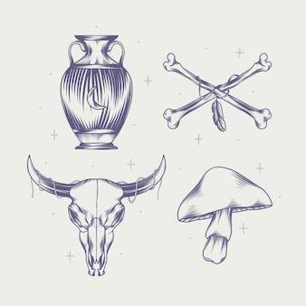 Gravure collection d'éléments boho dessinés à la main
