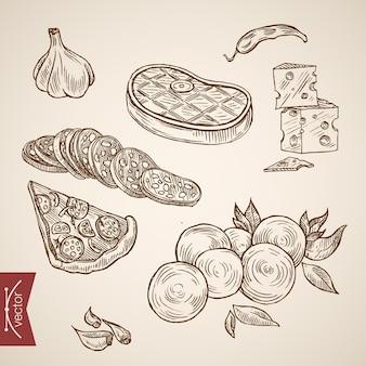 Gravure collection d'ingrédients pizza dessinés à la main vintage.