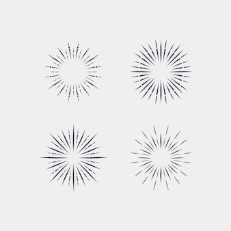 Gravure collection sunburst dessinée à la main