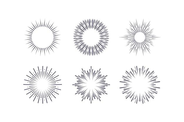 Gravure collection de sunbursts dessinés à la main