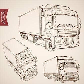 Gravure collection de transport de livraison dessinés à la main vintage. camion de croquis au crayon, véhicules de camion van