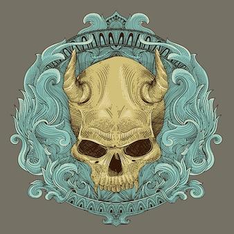 Gravure de crâne de diable et insigne héraldique