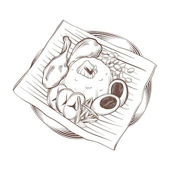 Gravure dessiné à la main nasi lemak