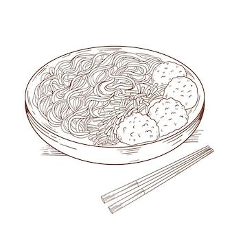 Gravure dessinée bakso dans un bol